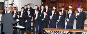 The Lower Octave, a group from Boy Singers of Maine, performs at a Rossini Club performance.